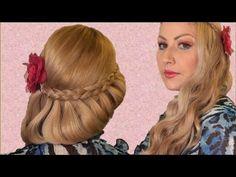 Semirecogido Romantico peinado facil para san valentin, fiesta y toda ocacion
