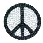 Peace Sign Crystal Rhinestone Removable Decal Sticker Black & Silver www.CrystalCase.com