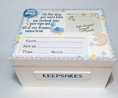 Hand made #wooden baby boy #keepsake memory box christening, new baby gift…