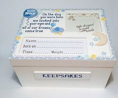 Hand made #wooden baby boy #keepsake memory box christening, new baby gift…
