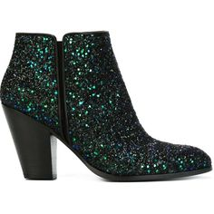 Giuseppe Zanotti Design glitter ankle boots featuring polyvore, fashion, shoes, boots, ankle booties, multicolour, high heel leather boots, glitter booties, high heel boots, high heel ankle booties and leather ankle booties