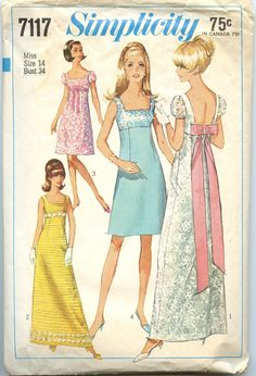 """1960s Vintage Dress Pattern Simplicity 7117 by GreyDogVintage, $10.00                              Imade the yellow for the """"Daisy Chain"""" when I was a junior in high school!"""