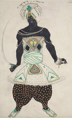 "Costume design by Léon Bakst (1866-1924), 1911, Radja for ""Dieu Bleu"", opaque and transparent watercolor, gold paint, and graphite pencil."