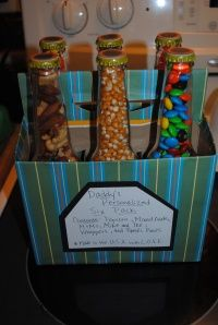 father's day candy six-pack!  I used IBC Black Cherry bottles, and skipped the covering with scrapbook paper. Still turned out way cute. Will probably use again for other gifts. :)
