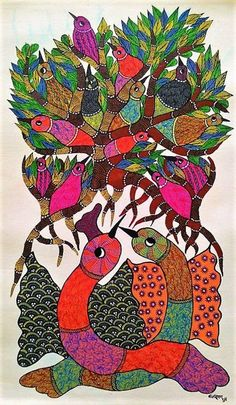 Original handmade tribal gond Painting illustrating parent birds protecting their little ones. Pichwai Paintings, Indian Art Paintings, Original Paintings, Original Art, Portrait Paintings, Abstract Portrait, Painting Abstract, Acrylic Paintings, Acrylic Art