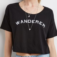 "COMING SOON New items are on the way!!! This hot ""Wanderer"" logo slightly cropped tee will be a great new addition to your closet! All sizes will be available (S-L) so get them while they are available!! Forever 21 Tops Crop Tops"