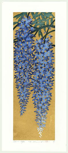 Hajime Namiki woodblock print Wisteria