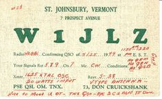 From the days of local radio, a card sent to mark the on-air connection of a pair of broadcasters. St. Johnsbury, VT.