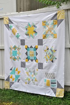 Love the pop of mustard yellow in this Modern Sampler Quilt Top by Lindsay Sews {@CraftBuds}, via Flickr