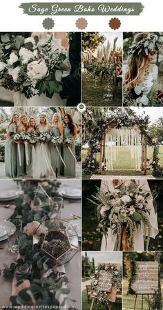 Top 11 Most Glamorous BOHO Wedding Ideas---sage green boho theme for fall and winter, woodland weddings, garden weddings, wedding bouquets, wedding signs and centerpieces. garden wedding Top 11 Most Glamorous BOHO Wedding Ideas Fall Wedding Colors, Wedding Flowers, Fall Wedding Themes, Green Theme Weddings, Wedding Ideas For Winter, Wedding Ideas Green, Winter Themed Wedding, Outside Winter Wedding, Wedding Color Schemes Fall Rustic