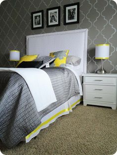 grey/yellow bedroom
