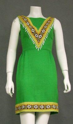 Vintageous, LLC - Chic Green 1960's Mini Dress w/ Tribal Feel, $95.00 (http://www.vintageous.com/chic-green-1960s-mini-dress-w-tribal-feel/)