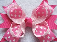 Pink and White Multi Layer Boutique Bow  Grosgrain by BabyABows, $4.50