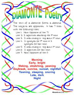 #6 of 10 free poetry posters -- Diamonte Poster