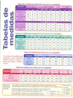 Tentando Tricotar: Tabela de Medidas para roupas de bebês e adultos