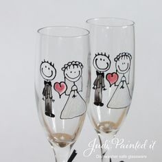 Bride and Groom wedding stick figure champagne flutes | by judipaintedit