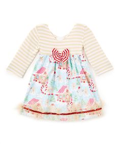 This Tan & Blue Gingerbread Dress - Infant, Toddler & Girls is perfect! #zulilyfinds