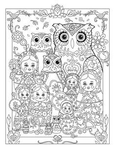 """Creative Haven Owls Coloring Book by Marjorie Sarnat, """"Nesting Owls"""""""