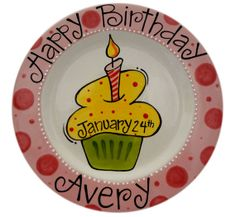 Personalized Birthday Plate Cupcake small by brushstrokespottery Pottery Painting Designs, Pottery Art, Painted Pottery, Pottery Ideas, Sharpie Plates, Sharpie Crafts, Ceramic Plates, Hand Painted Plates, Painted Pots