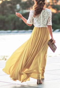yellow maxi skirt, white lace top, purse. summer clothing