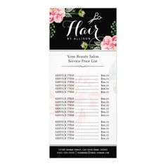 Floral Hair Stylist Modern Beauty Salon Price List Rack Cards