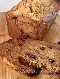 Chocolate Chip, Hazelnut Banana Bread with streusel topping! You may want to make 2 loaves!