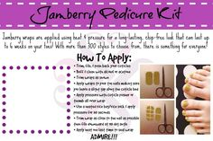 Includes Jamberry wraps for one pedicure, orange stick, file, alcohol pad & application instructions! Foot Pedicure, Pedicure Kit, Pedicure Designs, Nail Designs, Jamberry Pedicure, Jamberry Nail Wraps, Nail Art Studio, Great Nails, Diy Nails