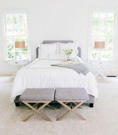 Calming grey and white bedroom colour scheme idea