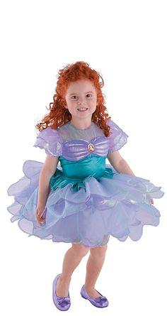 Disney Ariel Ballerina Costume - Kids This girls? Disney Ariel ballerina costume features a short-sleeved dress with a shimmering bodice, a sheer overlay, seashell detail and a poofy skirt and sleeves. Little Mermaid Costumes, Ariel Costumes, Disney Princess Costumes, Dress Up Costumes, Leia Costume, Bride Costume, Party Costumes, Ballet Costumes, Ballerina Halloween Costume