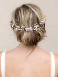 """Charity"" Beaded Bridal Hair Vine in Silver"
