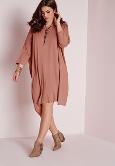 Missguided - Plus Size Oversized T-Shirt Dress Pink