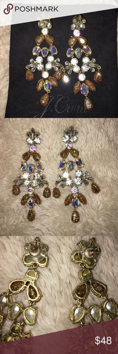J Crew Gold Crystal Gossamer Statement Earrings Just beautiful in perfect condition.  Basically New as I haven't worn them.  Nonsmoking home, open to reasonable offers😊 J. Crew Jewelry Earrings