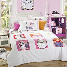LELVA Cute Cartoon Dog Bedding Sets Cotton Kids Bedding Girls Childrens Duvet Cover Set Queen Size 4pcs -- You can get additional details at the image link.