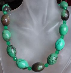 Turquoise Necklace c/w Green Jade Faceted Spacers  by camexinc, $35.00