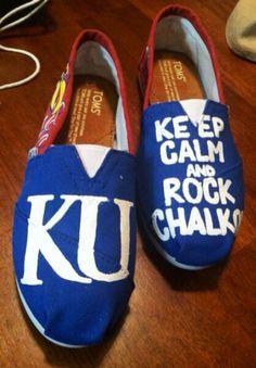 Kansas+University+Custom+painted+Toms+by+FrancesBowtique+on+Etsy,+$100.00 Chalk Rock, College Crafts, Go Ku, Painted Toms, University Of Kansas, Kansas Jayhawks, Dream Shoes, Shoe Closet, Custom Paint