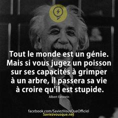 Tout le monde est un génie. Mais si vous jugez un poisson sur ses capacités à grimper à un arbre, il passera sa vie à croire qu'il est stupide. Albert Einstein   Saviez-vous que ?