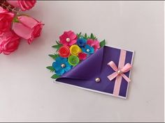 Learn how to create a Birthday card,I have some pretty awesome ideas for you! If you like to make handmade birthday card you need some coloring paper a. Happy Birthday Cards Handmade, Homemade Birthday Cards, Card Birthday, Greeting Cards Handmade, Paper Flowers Craft, Paper Crafts Origami, Diy Crafts For Gifts, Beautiful Handmade Cards, Flower Cards