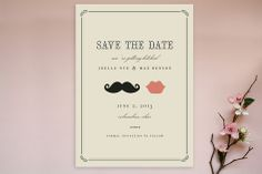 Stache & Kiss Save the Date Postcards - so cute!