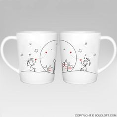 This coffee mug set is a soothing reminder from you to them that you're here, you'll always be here, and you're always theirs. Unique Valentines gifts for long distance boyfriend or husband- BoldLoft Miss Us Together His and Hers Couple Coffee Mugs. Couples Coffee Mugs, Couple Mugs, Coffee Mug Sets, Mugs Set, Couple Gifts, Miss You Gifts, Gifts For Him, Couple Pillowcase, Valentine Day Gifts