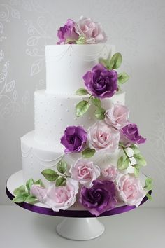 Floral Wedding Cakes Wedding Cakes - The Fairy Cakery - Cake Decoration and Courses based in Wiltshire Purple Wedding Cakes, Amazing Wedding Cakes, Elegant Wedding Cakes, Wedding Cake Decorations, Wedding Cake Designs, Gorgeous Cakes, Pretty Cakes, Quinceanera Cakes, Gateaux Cake
