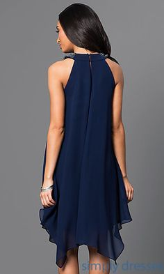 Shop handkerchief party dresses and blue homecoming dresses at Simply Dresses. Navy-blue wedding-guest dresses and chiffon cocktail dresses. Navy Blue Cocktail Dress, Long Cocktail Dress, Cocktail Dresses, Mob Dresses, Fashion Dresses, Formal Dresses, Party Dresses, Blue Wedding Guest Dresses, Blue Homecoming Dresses