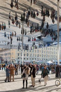 Cool art: Norman Foster's World Upside Down art, creative ideas, design, Marseilles, Vieux Port Pavilion