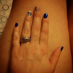 Blue, glitter, and white with blue and glitter stripes