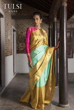 Tulsi Silks amazing Kanchivaram collections by desginer Santosh Parekh was showc. Silk Saree Kanchipuram, Kanjivaram Sarees, Lehenga Choli, Cotton Saree Designs, Blouse Designs, Indian Attire, Indian Outfits, Indian Wear, Indian Blouse