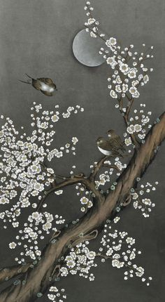 Korean Painting, Chinese Painting, Chinese Art, Wine Painting, Painting Prints, Korean Art, Asian Art, Japanese Art Styles, Cherry Blossom Art