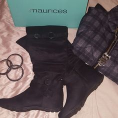 Brand new slouchy boots In perfect brand new condition. Has buckles for that edgy or chic style look. Simply gorgeous. Suede material. Maurices Shoes