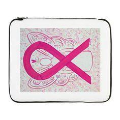 "Hot Pink Awareness Ribbon Angel 17"" Laptop Sleeve - The hot pink or magenta awareness ribbon supports awareness for  inflammatory breast cancer."