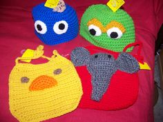 """crochet character hats and what I call my """"BIB BAGS"""""""