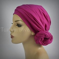 Hot Pink Turban, Chemo hats, turbans for cancer, head scarf, hats for cancer patients, alopecia, chemo hair loss.