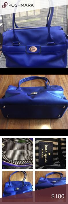 "Gorgeous royal blue Kate Spade Near perfect condition leather Kate Spade bag. Authentic. No wear to corners, metal is still shiny and inside looks great. A few tiny pen marks but as you can see not very noticeable. Happy to take more pictures and answer questions. This bag is gorgeous and I'm only selling because I purchased a Tory Burch bag that is almost the same color 🙈. Nonprofessional measurements 14"" x 10"" x 6"" Will come with its dust bag kate spade Bags"
